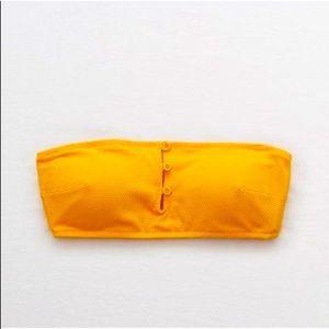 Aerie Orange Bandeau Swim Top Size Small
